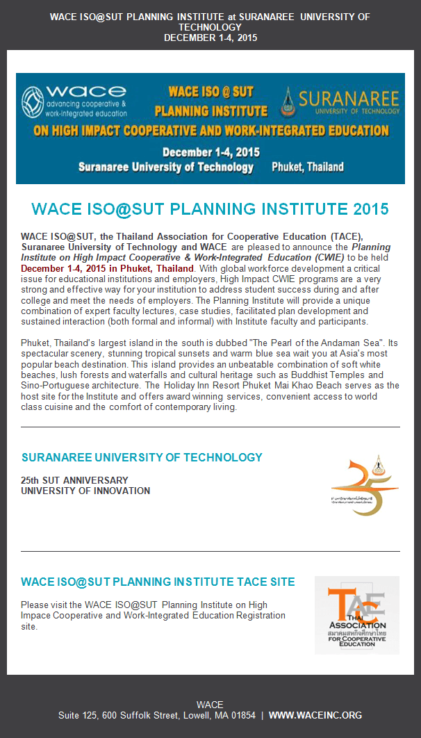 WACE ISO@SUT Planning Institute 2015